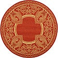 Indoor/ Outdoor Abaco Red/ Natural Rug (6'7 Round)