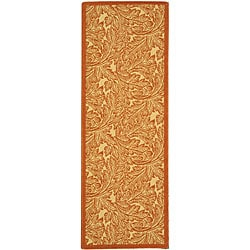 Indoor/ Outdoor Acklins Natural/ Terracotta Runner (2'4 x 6'7)