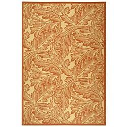 Indoor/ Outdoor Acklins Natural/ Terracotta Rug (6'7 x 9'6)