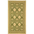 Indoor/ Outdoor Tropics Natural/ Olive Rug (2' x 3'7)