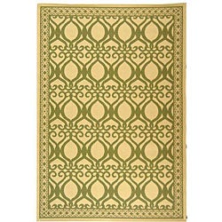 Indoor/ Outdoor Tropics Natural/ Olive Rug (5'3 x 7'7)