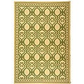 Indoor/ Outdoor Tropics Natural/ Olive Rug (6'7 x 9'6)