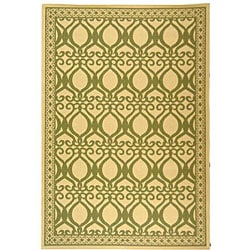 Indoor/ Outdoor Tropics Natural/ Olive Rug (7'10 x 11')