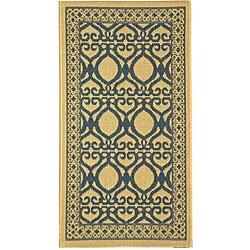 Safavieh Indoor/ Outdoor Tropics Natural/ Blue Rug (2' x 3'7)