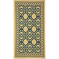 Indoor/ Outdoor Tropics Natural/ Blue Rug (2' x 3'7)