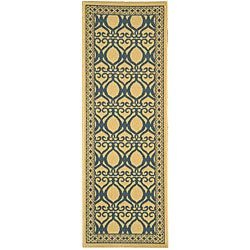 Safavieh Indoor/ Outdoor Tropics Natural/ Blue Runner (2'4 x 6'7)