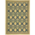 Indoor/ Outdoor Tropics Natural/ Blue Rug (2'7 x 5')