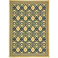 Indoor/ Outdoor Tropics Natural/ Blue Rug (4' x 5'7)