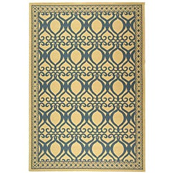 Indoor/ Outdoor Tropics Natural/ Blue Rug (6'7 x 9'6)