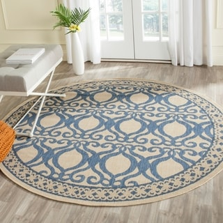Safavieh Indoor/ Outdoor Tropics Natural/ Blue Rug (6'7 Round)