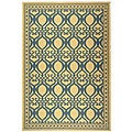 Indoor/ Outdoor Tropics Natural/ Blue Rug (7'10 x 11')