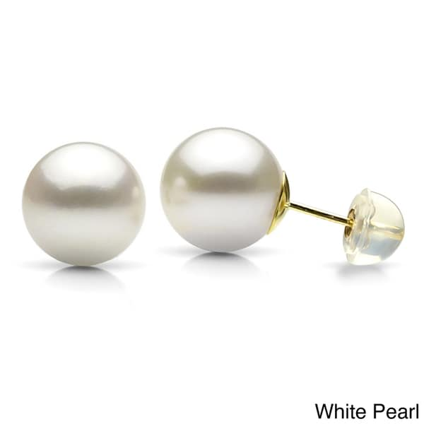 DaVonna 14k Yellow Gold Round Cultured Pearl Stud Earrings (9-10 mm)