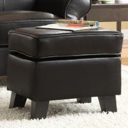 Noho Dark Brown Bi-cast Leather Ottoman