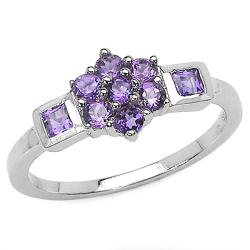 Malaika Sterling Silver Round- and Square-cut Amethyst Cluster Ring