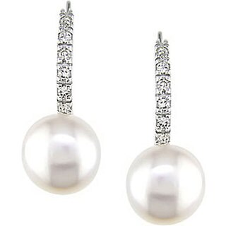 10k White Gold Cultured Freshwater Pearl and 1/10ct TDW Diamond Earrings (8-9 mm)