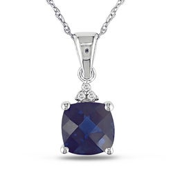 Miadora 10k Gold Created Blue Sapphire and Diamond Accent Necklace