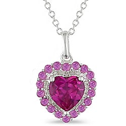 Miadora Silver Created Pink Sapphire and 1/10ct TDW Diamond Necklace
