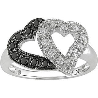 Miadora 10k Gold 1/4ct TDW Black and White Diamond Ring (I-J, I1-I2)