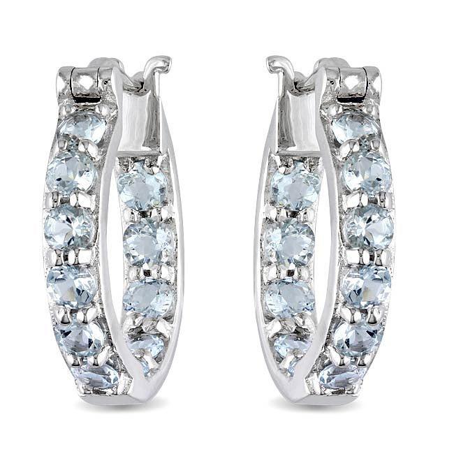 Miadora Sterling Silver Aquamarine Hoop Earrings