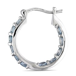 Miadora Sterling Silver Aquamarine Hoop Earrings