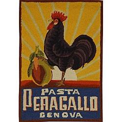 Hand-hooked Vintage Poster Wool Rug (1'8 x 2'6)