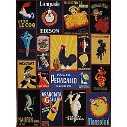 Hand-hooked Vintage Poster Wool Rug (8'9 x 11'9)