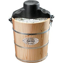 Aroma Electric/ Manual Wood Bucket Ice Cream Maker
