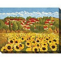 Cecile Broz 'Sunflower Field II' Giclee Canvas Art