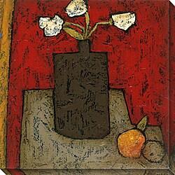 DeRosier 'Modern Vase and Flowers I' Oversized Canvas Art