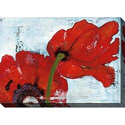 Laura Gunn 'Poppies on Blue III' Oversized Canvas Art