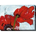 Laura Gunn 'Poppies on Blue III' Oversized Canvas Art