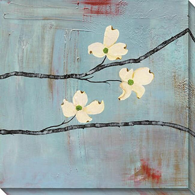 Laura Gunn 'Dogwood on Blue III' Giclee Canvas Art