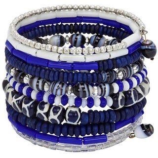 Bone Ten Turn Bright Blue Bracelet (India)