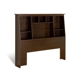 Everett Espresso Full/Queen Tall Slant-back Bookcase Headboard
