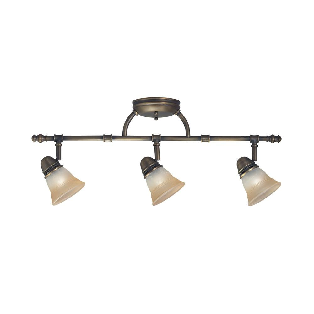 Legacy Bronze 3-light Champagne Marble Glass Rail