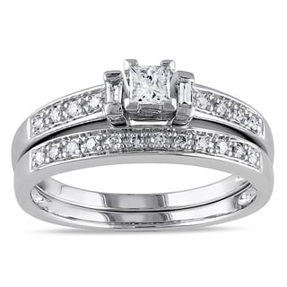 Miadora 14k White Gold 1/3ct TDW Princess Diamond Bridal Set (G-H, I1-I2)