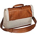 Espana Deluxe Tan Twill/Leather Flap Over Briefcase