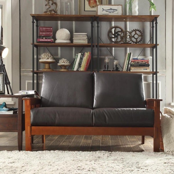 TRIBECCA HOME Hills Collection Bi-cast Leather Loveseat