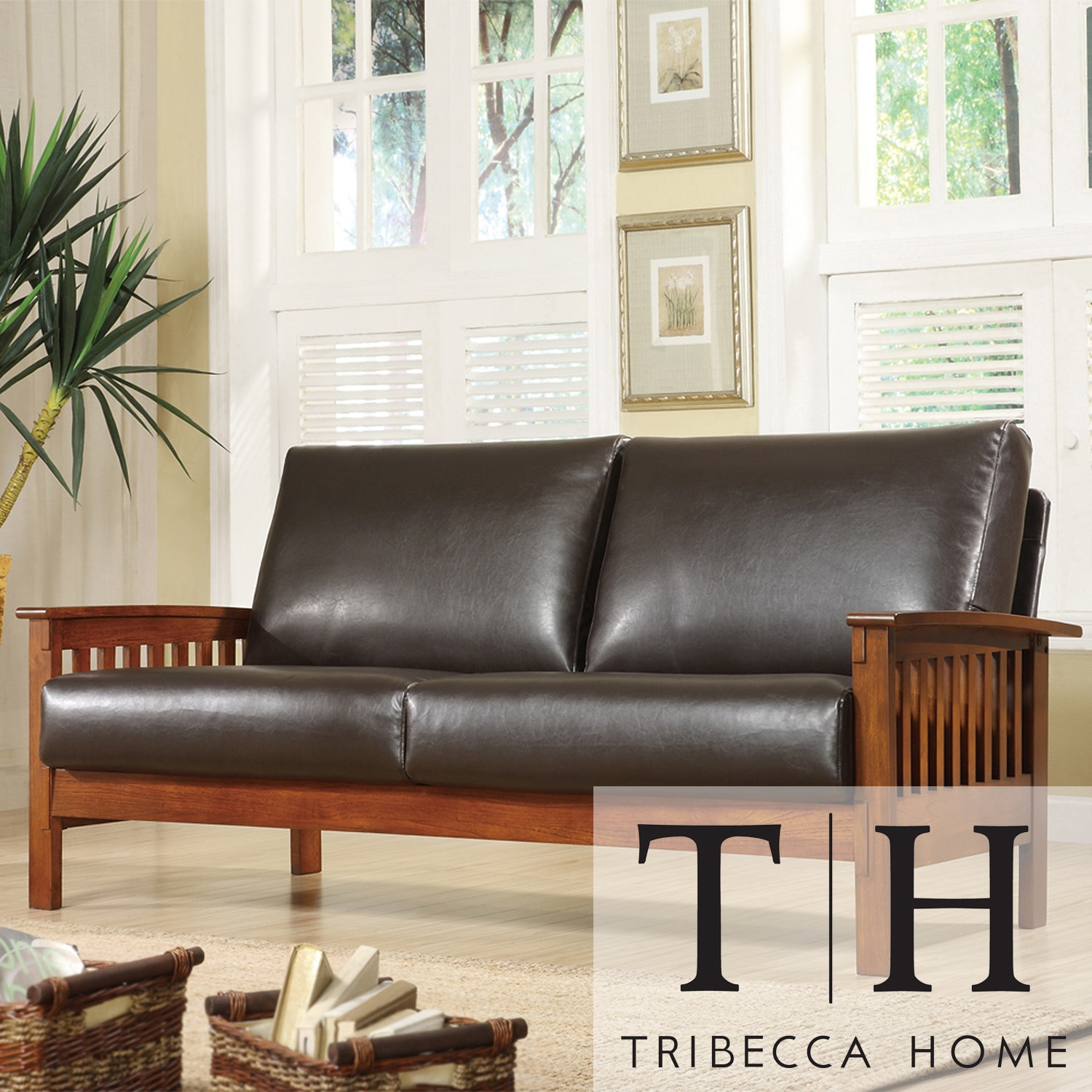 TRIBECCA HOME Hills Mission Bi-cast Faux Leather Sofa at Sears.com