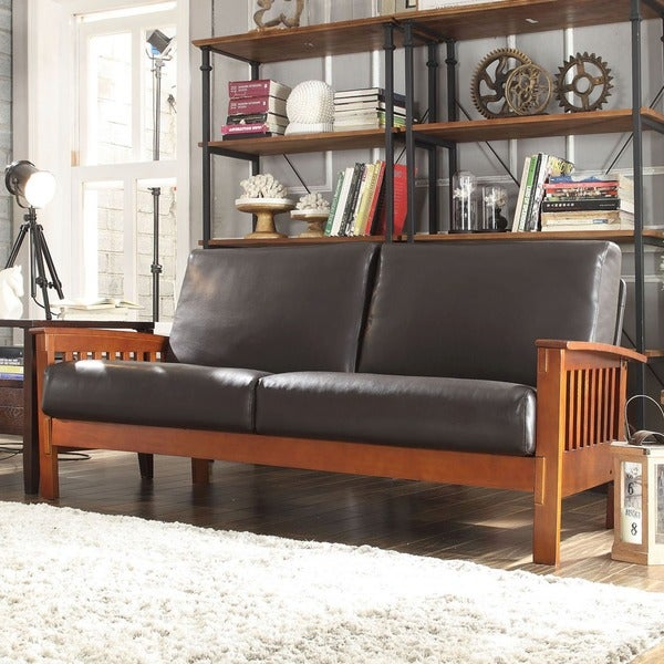 TRIBECCA HOME Hills Mission Bi-cast Leather Sofa