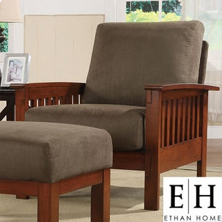 ETHAN HOME Hills Mission-Style Oak and Olive Microfiber Accent Chair