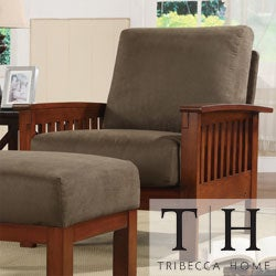 TRIBECCA HOME Hills Mission-Style Oak and Olive Microfiber Accent Chair