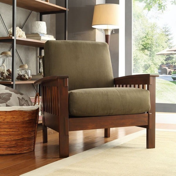 tribecca home hills mission style oak and olive microfiber accent