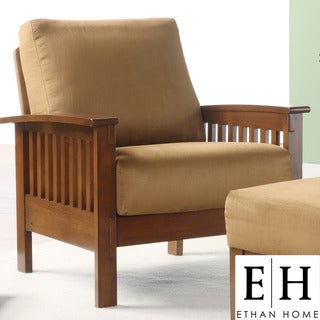 ETHAN HOME Hills Mission-Style Oak and Rust Microfiber Accent Chair