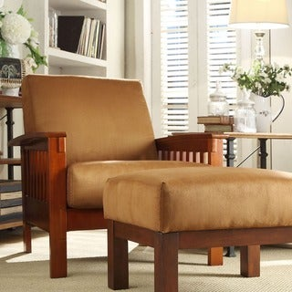 TRIBECCA HOME Hills Mission-Style Oak and Rust Microfiber Accent Chair