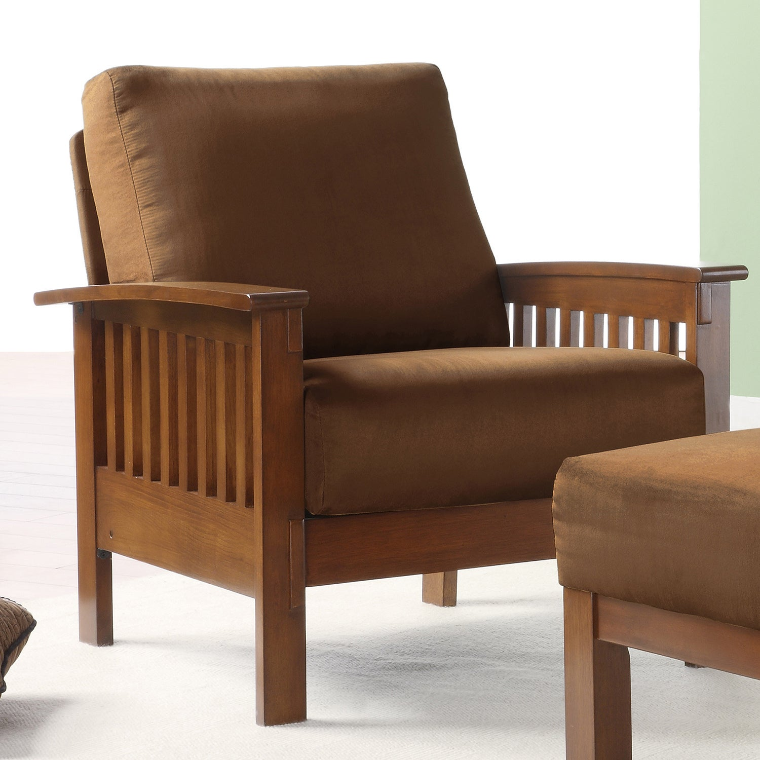 Tribecca Home Hills Mission Style Oak And Rust Microfiber