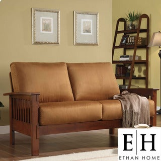 ETHAN HOME Hills Mission-Style Oak and Rust Loveseat