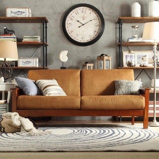 TRIBECCA HOME Hills Mission-style Oak and Rust Sofa
