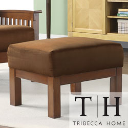 TRIBECCA HOME Hills Mission Oak and Rust Ottoman