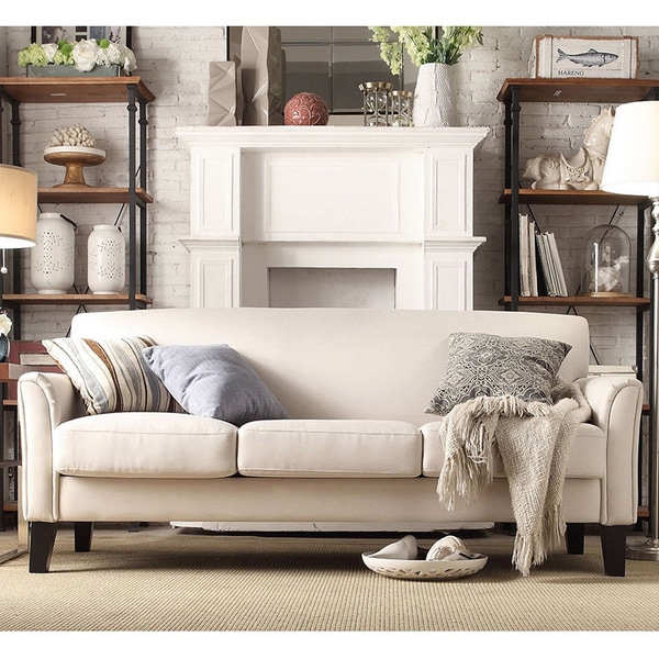 sofab austin almond three seat sofa with four accent pillows